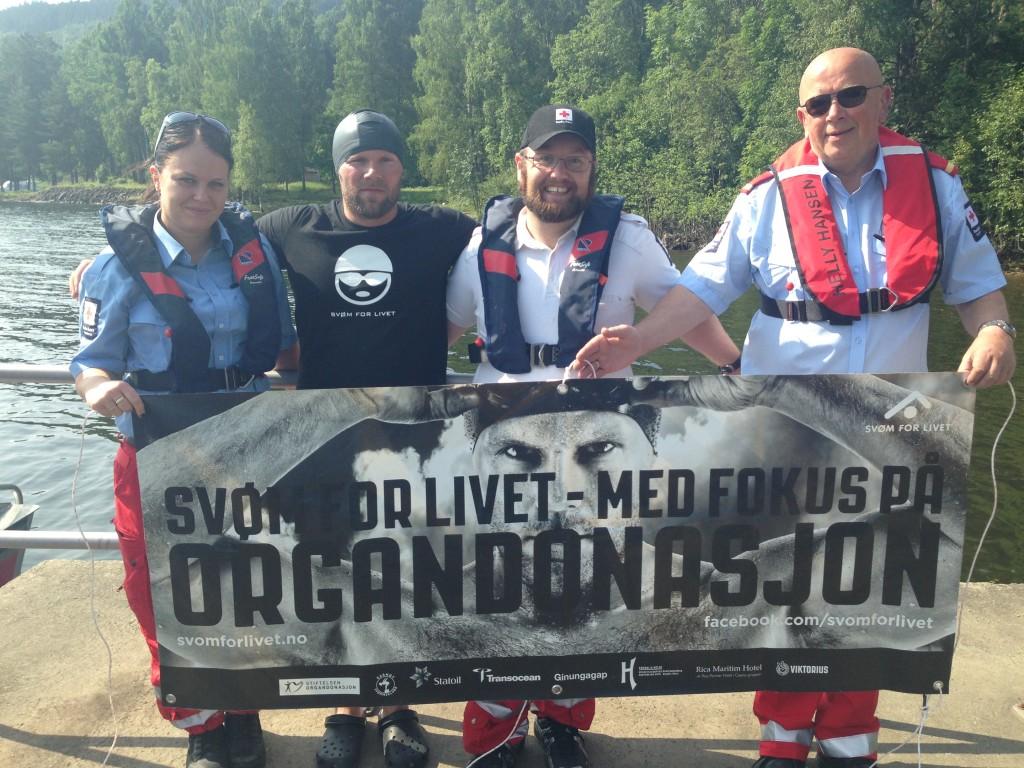Team Svøm for livet etappe 8; Kine, Stian, Robin og Harald.